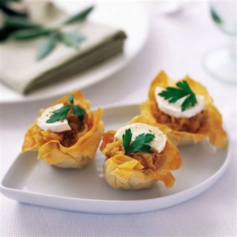 goats cheese canape recipes filo with caramelized onions and goats cheese