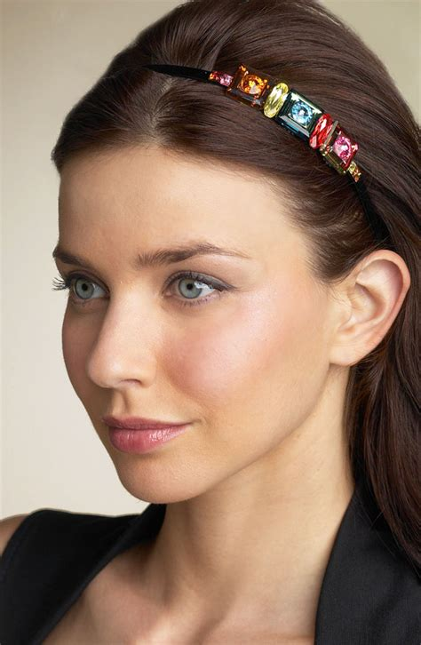 hairstyles with jeweled headband long dark straight hair with a side part and a multi