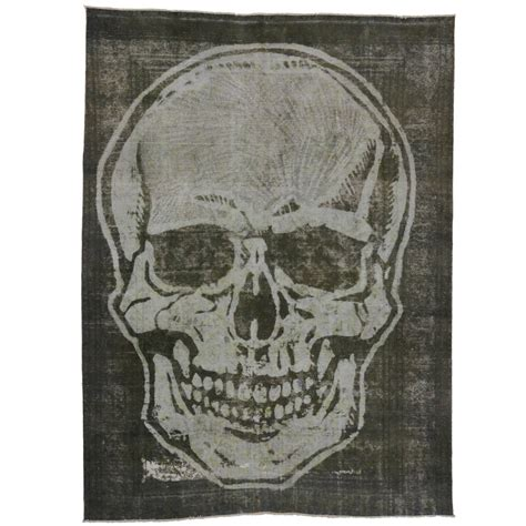 skull rugs sale vintage overdyed tabriz rug with skull at 1stdibs