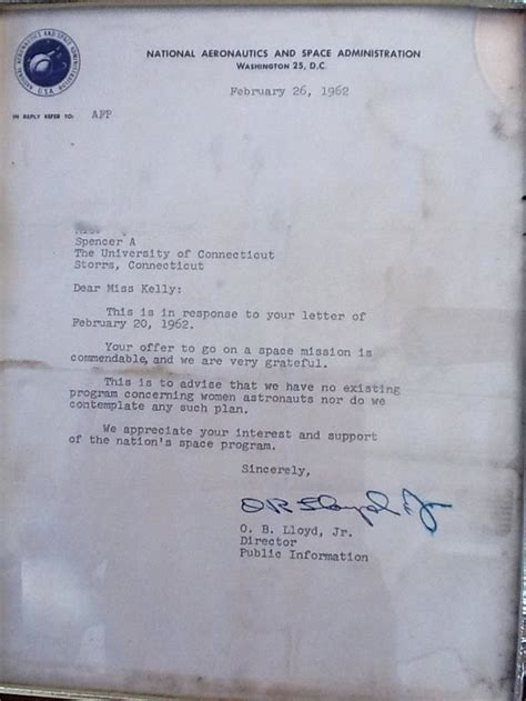 Letter Rejecting Knighthood Andpop A Harsh Nasa Rejection Letter Sent To A In 1962