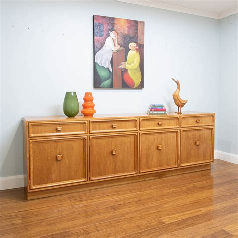 credenza tv unit 6403 retro vintage teak 4 door 4 drawer parker sideboard