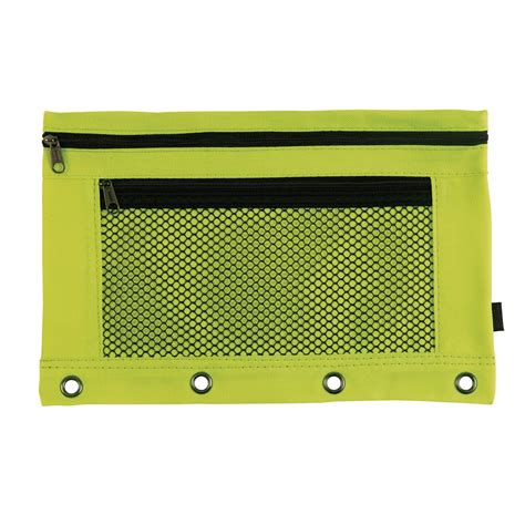 Pencil Pouch staples pencil pouch flat with mesh pocket 4 ring neon