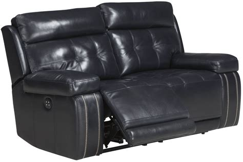 power reclining sofa with adjustable headrest graford navy power reclining loveseat with adjustable
