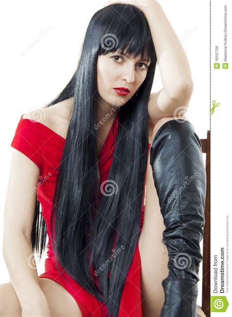 Mujer Con El Pelo Negro Largo Sano Lujuriante Foto De | mujer con el pelo negro largo sano lujuriante foto de