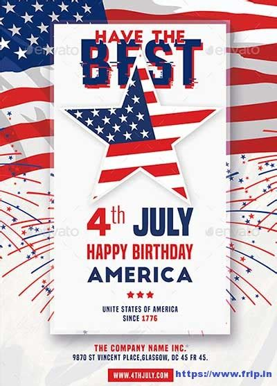 60 Best 4th Of July U S Independence Day Flyers Print Templates 2018 Frip In In July Flyer Template