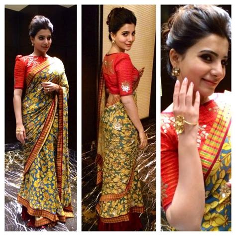 boat neck blouse cutting in kannada samantha in floral saree at santosham awards 2014