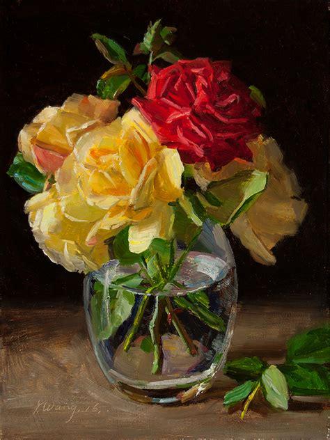 Paintings Of Flowers In Vases Wang Fine Art Rose Flower In A Glass Vase Still Life