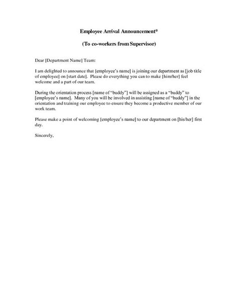 new employee announcement letter this sle new employee introduction letter welcomes your