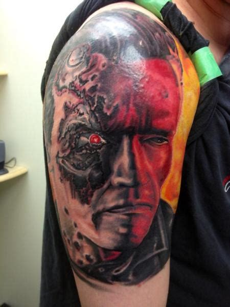 terminator tattoo shoulder terminator by tantrix