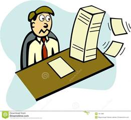 3 Person Desk Lots Of Paper Work In Office Vector Illustration Royalty