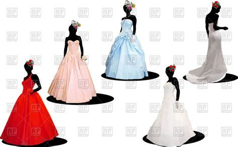 Wedding Dress Vector by Silhouettes Of Brides In Wedding Dresses Vector Image