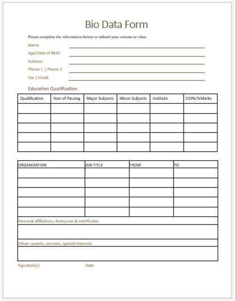 Bio Data Exle by Bio Data Form Templates For Ms Word Word Excel Templates
