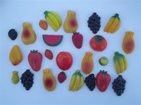 Vintage refrigerator magnets lot, retro plastic fruit