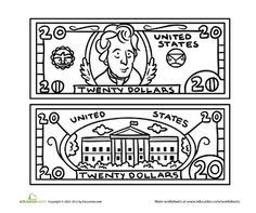 coloring page 5 dollar bill worksheets five dollar bill coloring page good ideas