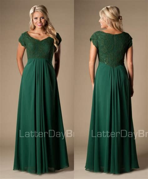 Mackandphil Aline Green Size 23 simple forest green maxi a line lace chiffon