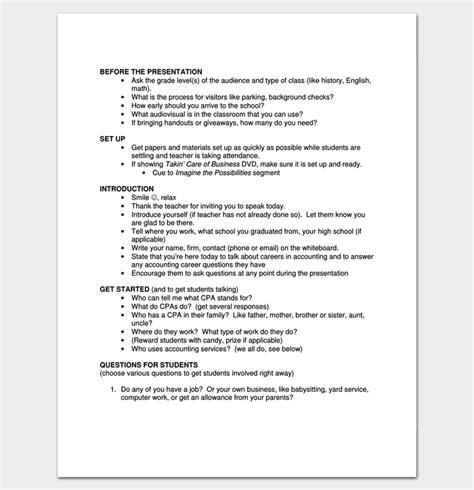 Script Outline Exle For Pdf Outline Templates Presentation Script Template