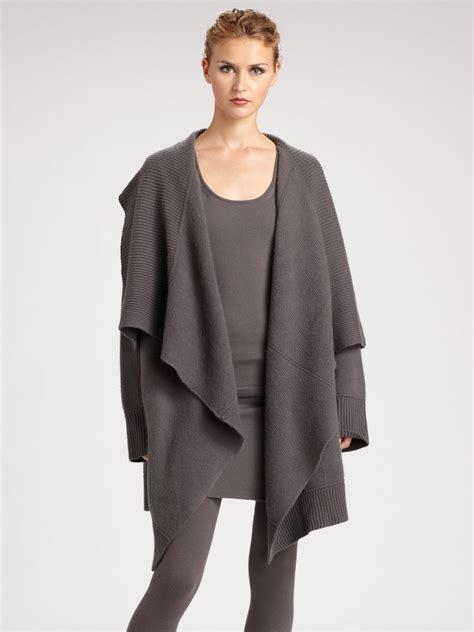 long drape front cardigan donna karan new york drape front long cozy cardigan in