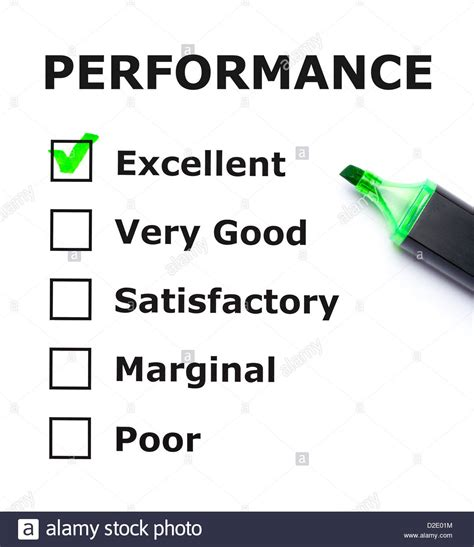 performance evaluation performance evaluation form with green check on
