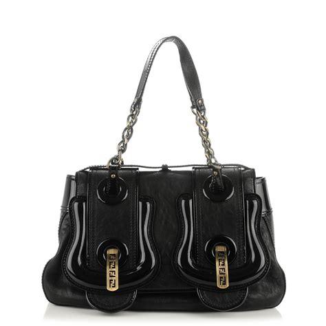Fendi Vernice Matrix B Bag by Fendi Nappa Vernice Patent B Bag Black 160611