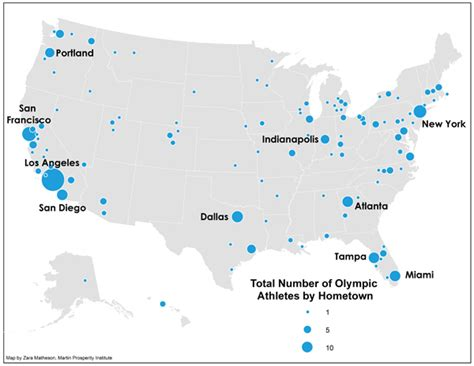 us map with popular cities the geography of team usa citylab