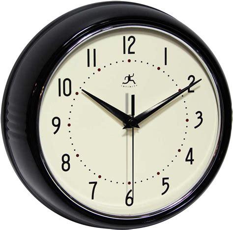 infinity retro wall clock the retro black wall clock by infinity instruments metal