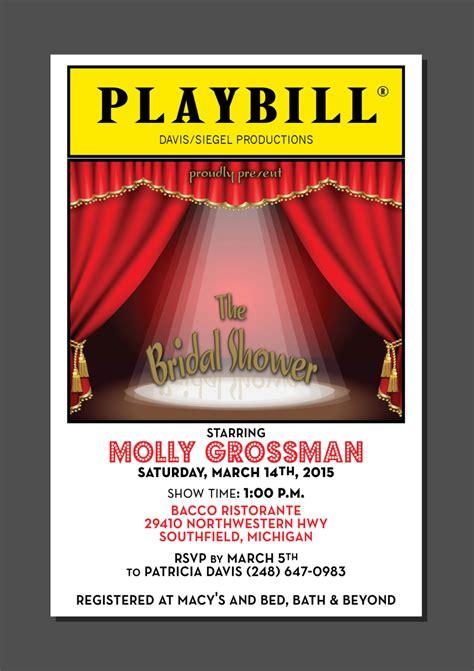 playbill template playbill theater wedding bridal shower broadway new york