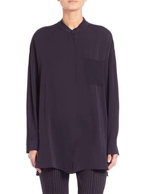 Tunic Blouse lyst max mara tilde silk tunic blouse in blue