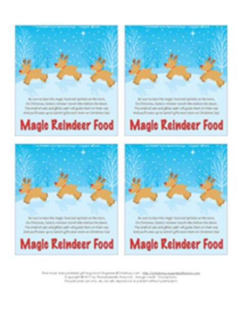 printable magic reindeer food gift tags christmas coloring pages