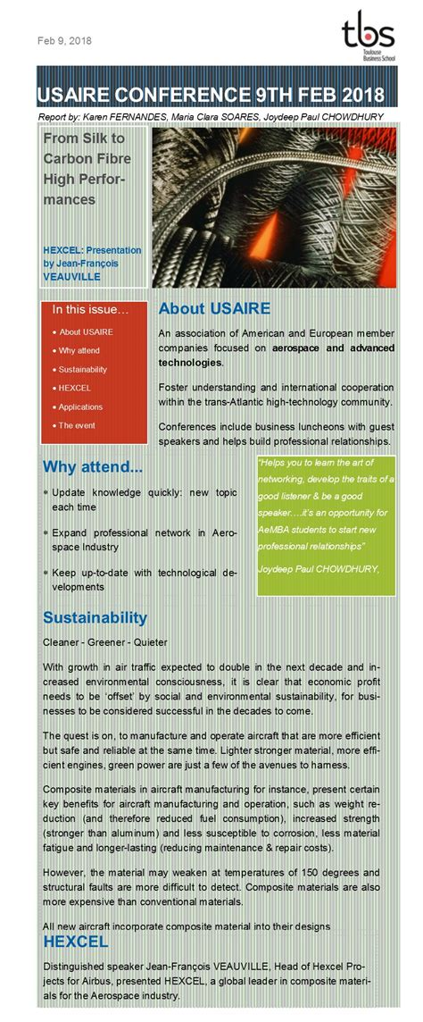Mba 2018 Conference by Usaire Conference Feb 9 2018 Hexcel Composites
