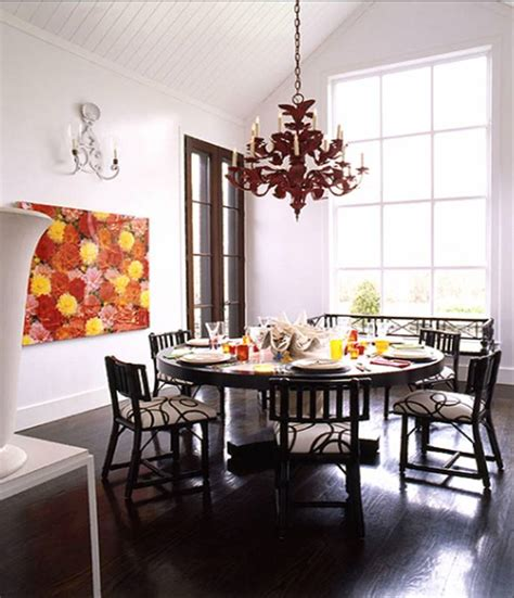Round White Dining Room Table by John Barman Dining Room Round Table Black White Red