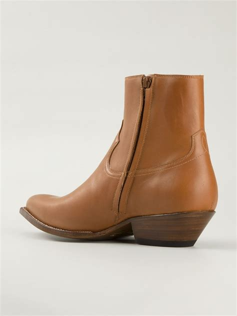 western ankle boots laurent western ankle boots in brown for lyst