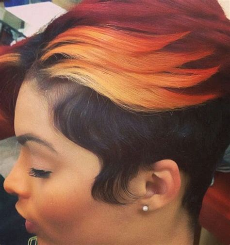 short urban hair styles ombre orange and burgundy dyed sassy short haircut urban
