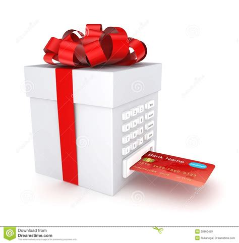 Credit Card Gift Box - credit card inserted in a gift box royalty free stock images image 28860459