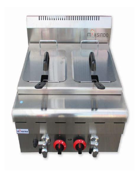 Alat Penggoreng Gas Fryer Gas 2 Basket Ta Berkualitas jual counter top 2 tank 2 basket gas fryer di bogor toko mesin maksindo bogor