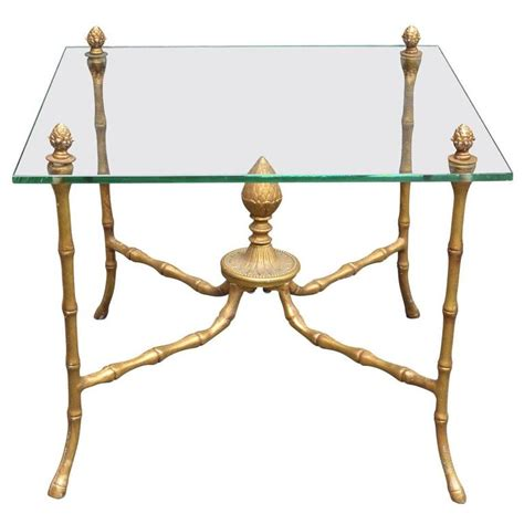 gilded iron faux bamboo accent table at 1stdibs gilded faux bamboo brass and glass accent table for sale