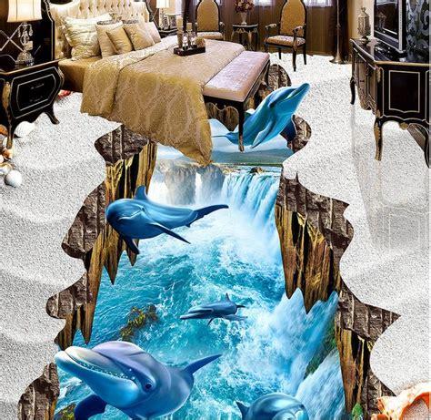 Custom Vinyl Stickers For Walls custom 3d floor painting dolphin falls pvc vinyl flooring