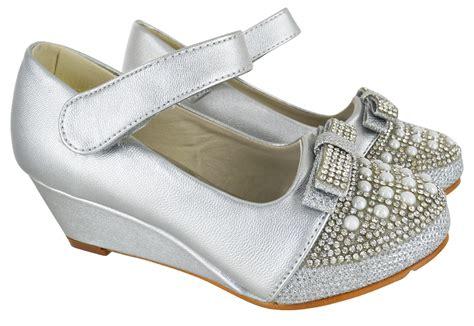 silver mid heel wedge children bridemaid