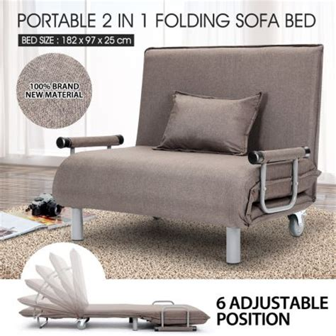 Portable Sofa Bed Portable Folding Rollaway Bed Sofa With Mattress Taupe Sales