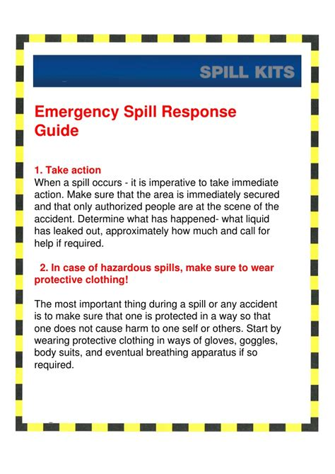 spill response guide for spill kits from project sales