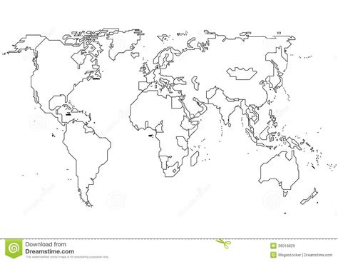 world map outline vector world continents royalty free stock images image 36016829