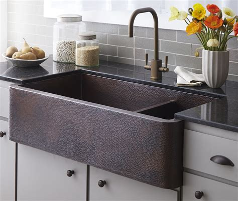 Kitchen Sink Finishes Trails Kitchen Sinks Copper Farmhouse Duet Pro Cpk274 Antique Finish Wave Plumbing