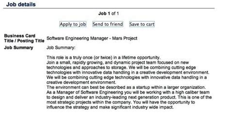 Software Engineering Manager Description by Netapp Launches Secret Mars Mission Seeks Egghead The Register