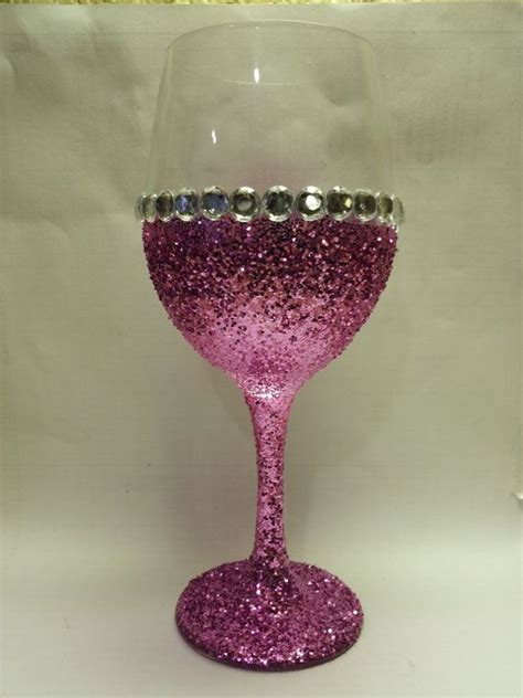 handmade glitter stemmed wine glasses by kraftykenzie on