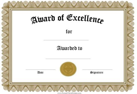 template award certificates word doc office