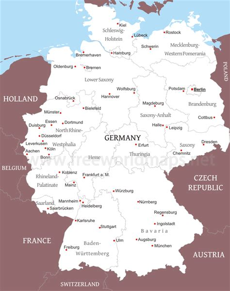 germany map political germany political map