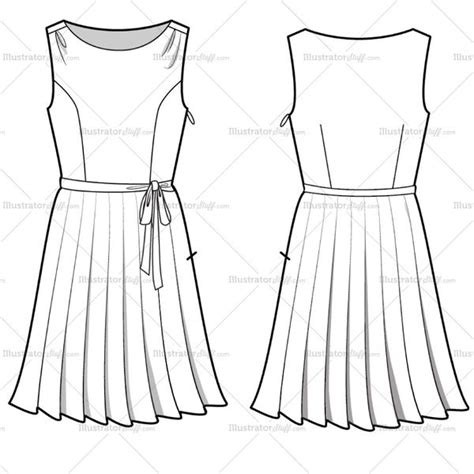 women s pleated dress fashion flat template sketches