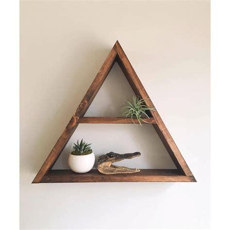triangle wall shelf triangle shelf crystal shelf shadow box wood by araehandcrafts