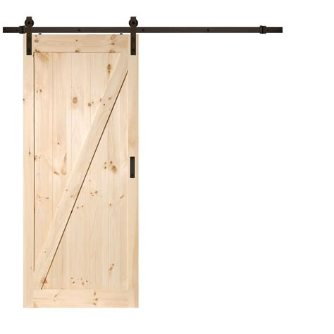 Lowes Interior Doors With Frame by Solid Z Frame Soft Pine Barn Interior Door Common 36 In X 84 In Actual 36 In X 84