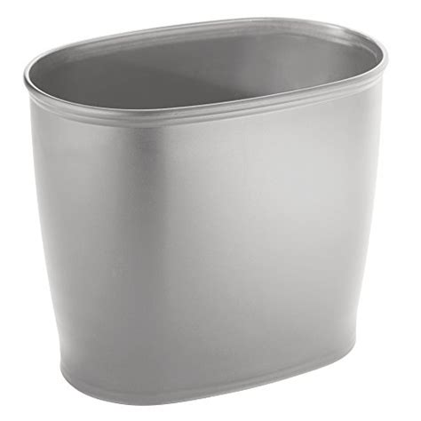 silver bathroom trash can interdesign kent oval trash can for bathroom kitchen or
