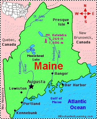 show me a map of maine maine facts map and state symbols enchantedlearning